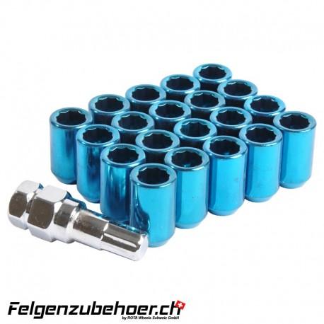 Radmuttern Tuner blau M12X1.25 Stahl Kegelbund