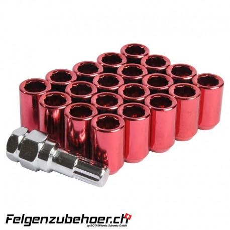 Radmuttern Tuner rot M12X1.25 Stahl Kegelbund