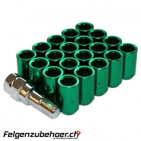 Radmuttern Tuner grün Stahl Kegelbund