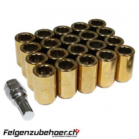 Radmuttern Tuner gold M12X1.25 Stahl Kegelbund