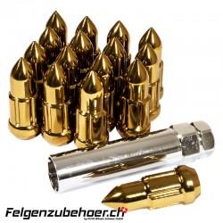 Radmuttern Bullet gold Stahl Kegelbund