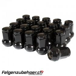 Radmuttern Stahl schwarz M12X1.25 Kegelbund