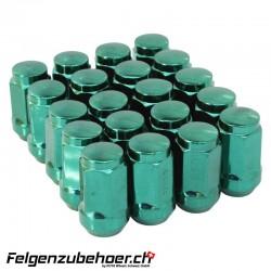 Radmuttern Stahl grün Kegelbund