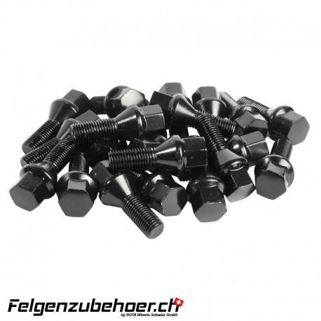 Radschrauben schwarz Stahl Kegelbund