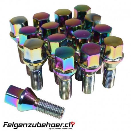 Radschrauben petrol Stahl Kegelbund