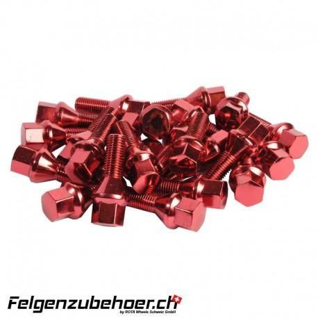 Radschrauben rot Stahl Kegelbund