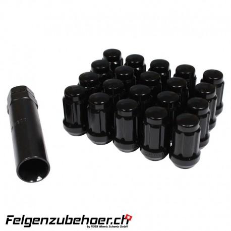 Radmuttern SD20 Schwarz M12X1.25 Stahl Kegelbund
